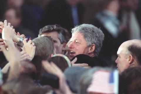 President Clinton shaking hands with a crowd at Londonderry, Northern Ireland