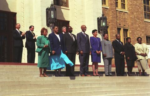 Little Rock Nine Stand on the Steps of LR CHS